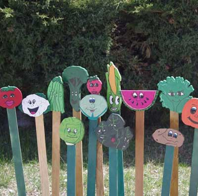 painted wood garden marker