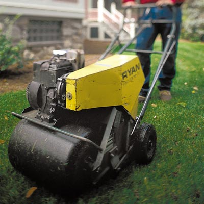 aerating lawn for fall yardwork