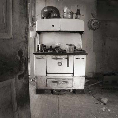 oven in abandoned farmhouse