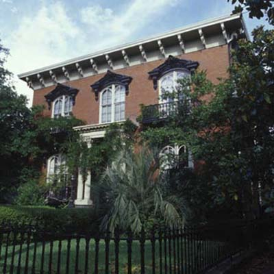 Red brick Mercer Williams House in Savannah