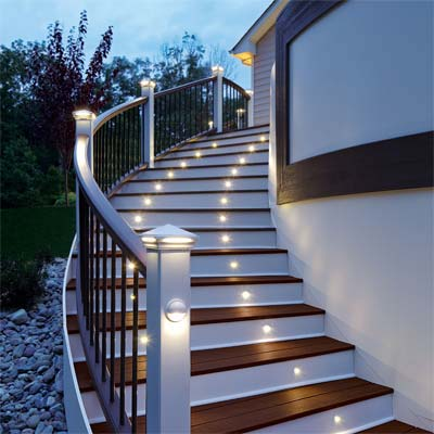 plug-and-play system of LED lights for stairs showcased at the 2011 international builders show