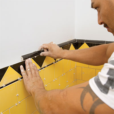 installation of the bathroom tile restoration during the toh tv los angeles house project remodel