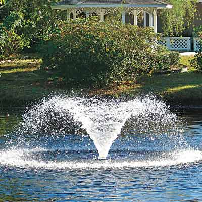 a fountain water agitator in a backyard pond