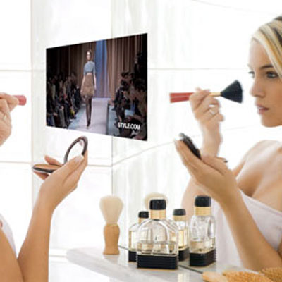 mirror with tv screen wacky bath product