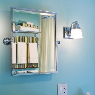 remodeled bathroom sink and beveled mirror