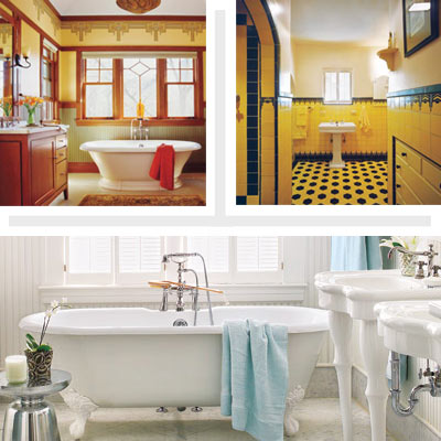 three different bathroom design styles