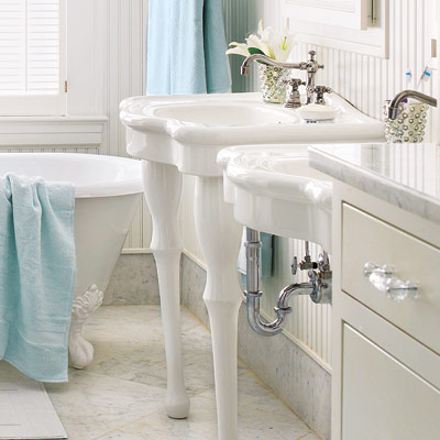victorian bathroom with furniture looking fixtures