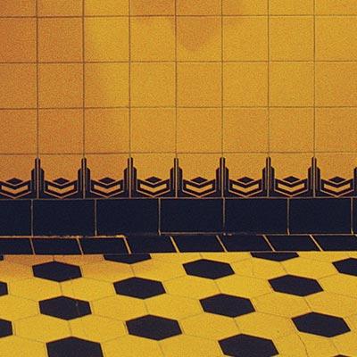 art deco style bathroom with bold tile