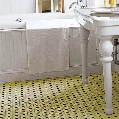 bathroom with green tile floor