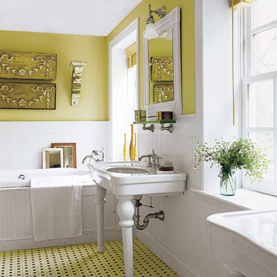 bathroom with green color scheme