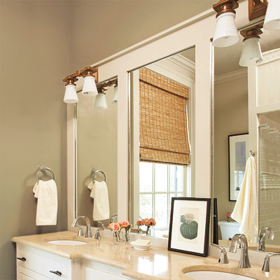 bathroom with paneled overlay mirrors