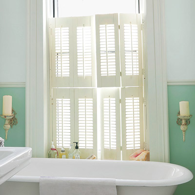 bathroom with plantation style shutters