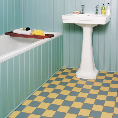 bathroom with checkerboard floor
