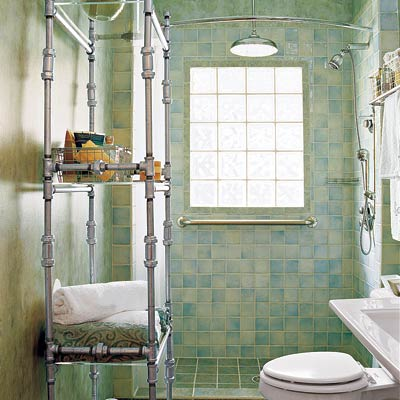 bathroom with diy metal shelving unit