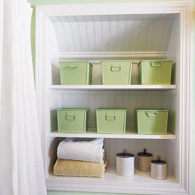 bathroom with storage wall niche