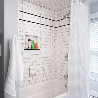 Stylish tub in bathroom remodel