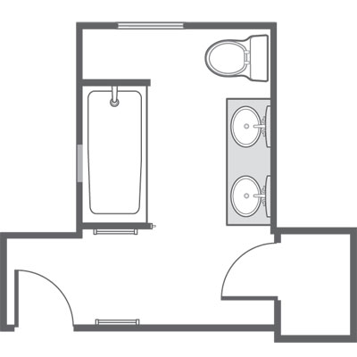 New floor plan for redesigned bathroom