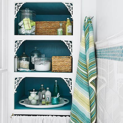 Open shelves in the remodeled bath