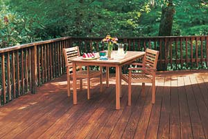 wood deck with patio dining set