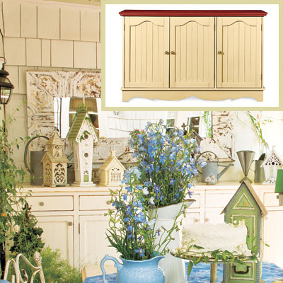 Outdoor patio dining room with sideboard