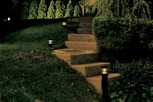 walkway steps lit up at night