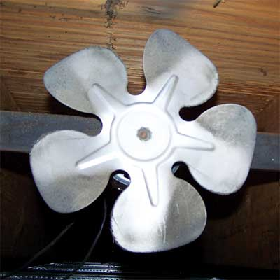 propeller used as a wood stove fan