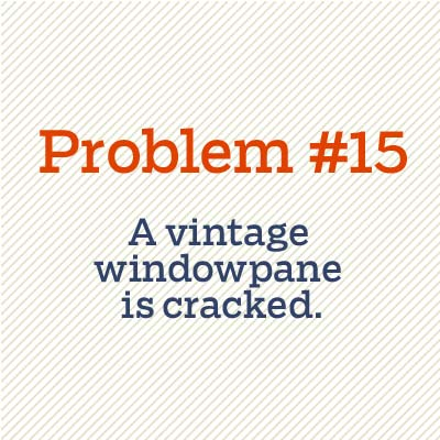 vintage windowpane is cracked