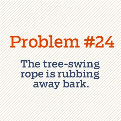 tree swing rope is rubbing away bark