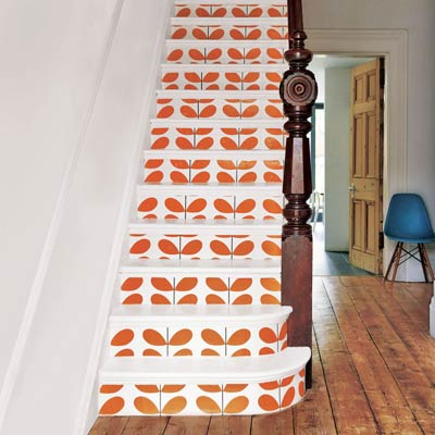 wallpapered stairs easy upgrade