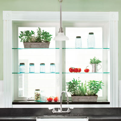August Glass Shelves Brighten A Kitchen Window 88 Quick And Easy Decorative Upgrades This