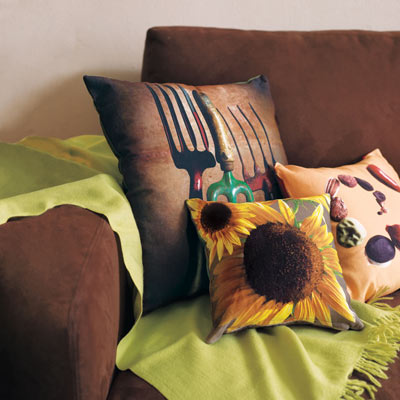 fabric pillows with photo transfers for easy upgrade