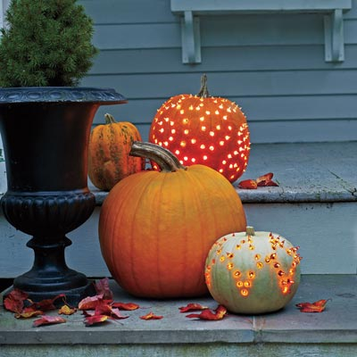 jack o lanterns with light studs for easy curb appeal upgrade