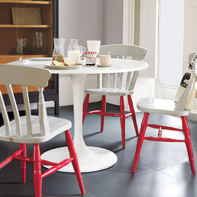 white kitchen table chairs with red painted legs