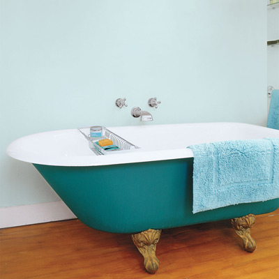 claw foot tub painted teal