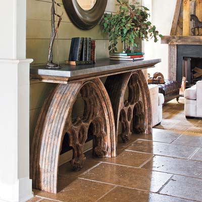 window arch console table made from salvage materials