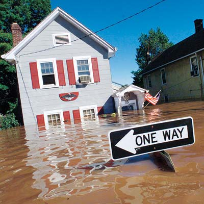 houses under flood waters