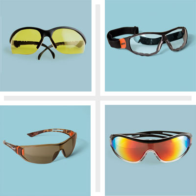 composite of four types of workshop safety glasses