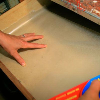 lining a drawer with wax paper