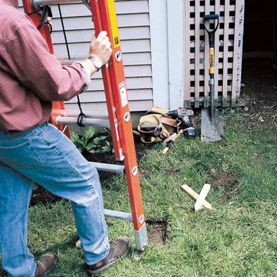 Ladder on uneven ground