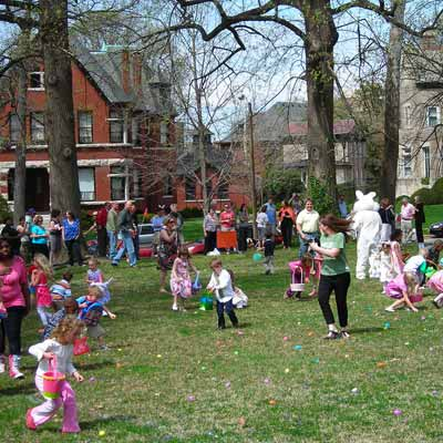 an Easter egg hunt in Compton Heights, St. Louis, Missouri