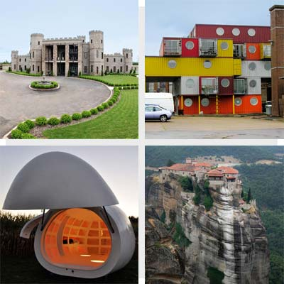 clockwise from top left: castle house, container house, blob house and house on a high cliff
