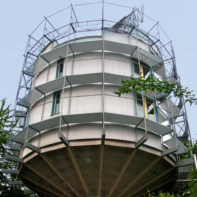 a rotating heliotrope-style house