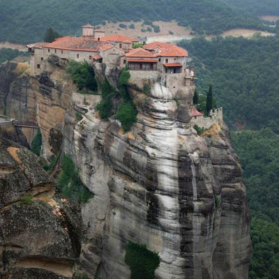 a monastery built on top of a 1,000 foot cliff