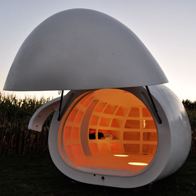 an egg-shaped mobile home