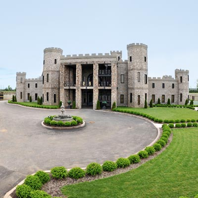 a castle-shaped mansion converted to a hotel