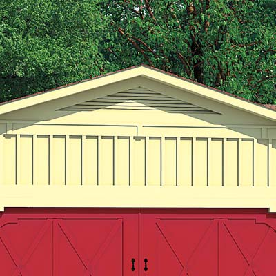 ranch house with garage gable vent