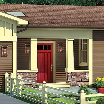 ranch house with opened up porch entry