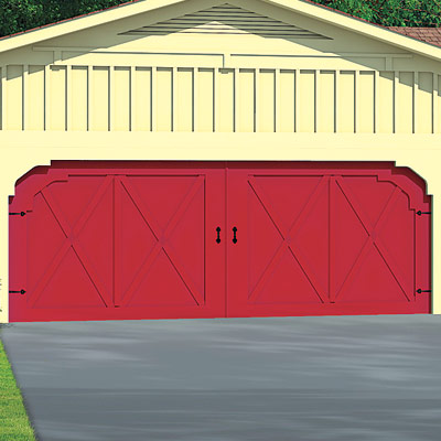 ranch house with barn garage doors