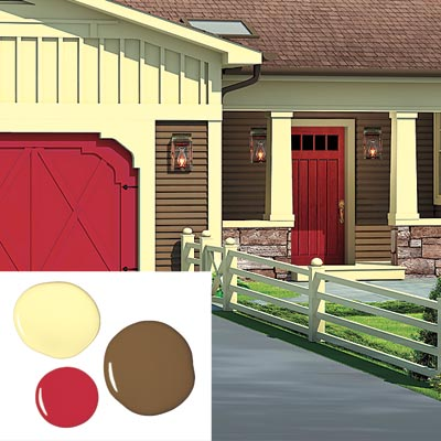 ranch house with bark, cream and red paint scheme