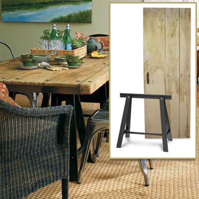 Distressed Wood Table in get this look french dining room